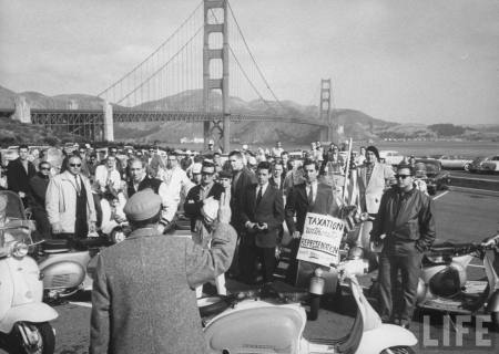 This is apparently at a protest over a state law that banned motorcycles from the freeways. Like that could happen today... Or could it?