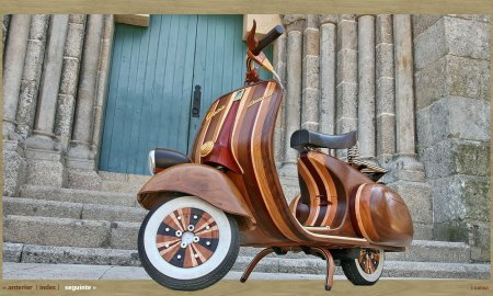 Introducing the wooden Vespa. Please keep all the termite comments to yourself.